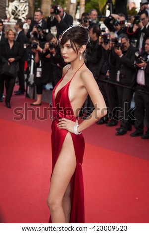 Cannes, France - 18 MAY 2016 - Model Bella Hadid attends 'The Unknown Girl (La Fille Inconnue)' Premiere duirng the annual 69th Cannes Film Festival - stock photo