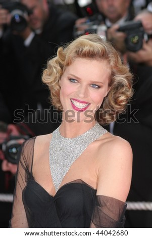 CANNES, FRANCE - MAY 21: Model Eva Herzigova attends the 'Che' premiere at the Palais des Festivals during the 61st International Cannes Film Festival on May 21, 2008 in Cannes, France. - stock photo