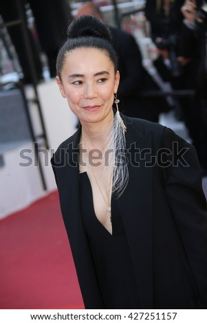 CANNES, FRANCE - MAY 19: Naomi Kawase attends the 'Graduation (Bacalaureat)' Premiere during the 69th annual Cannes Film Festival at the Palais des Festivals on May 19, 2016 in Cannes, France. - stock photo