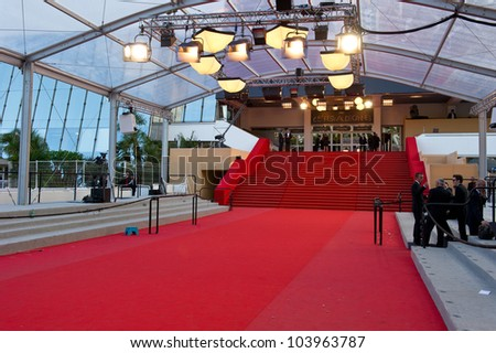 CANNES, FRANCE - MAY 23: Palais des Festivals during the 65th Annual Cannes Film Festival on May 23, 2012 in Cannes, France - stock photo