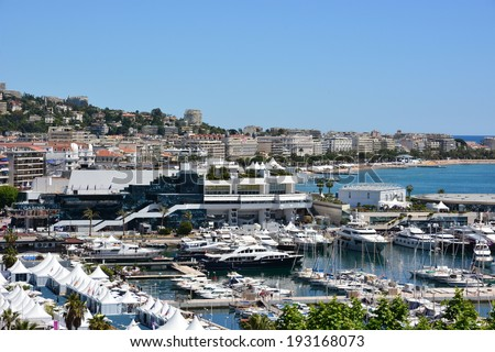 CANNES, FRANCE-MAY 14: Palais des Festivals shown on May 14, 2014 in Cannes, France.The International Film Festival takes place at present in this building, the actors live in the hotels on Croisette. - stock photo