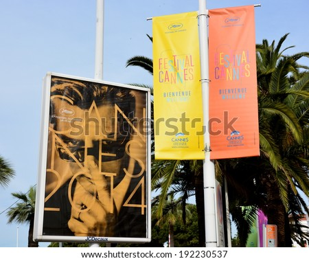 CANNES, FRANCE-MAY 12: Poster advertising shown on may 12, 2014 in Cannes, France. Official poster for the international film festival 2014 with this year the famous italian actor Marcello Mastroianni - stock photo