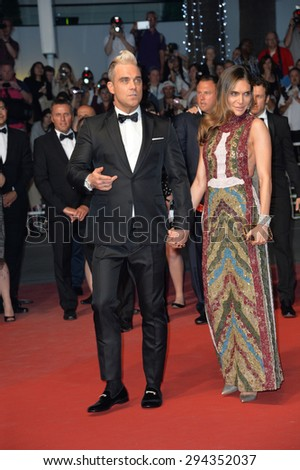 "CANNES, FRANCE - MAY 16, 2015: Robbie Williams & Ayda Field at the gala premiere of ""The Sea of Trees"" at the 68th Festival de Cannes.