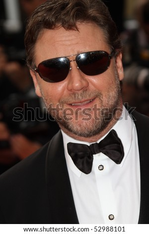 CANNES, FRANCE - MAY 12: Russel Crowe attend the 'Robin Hood' Premiere at the Palais des Festivals during the 63rd Cannes Film Festival on May 12, 2010 in Cannes, France - stock photo