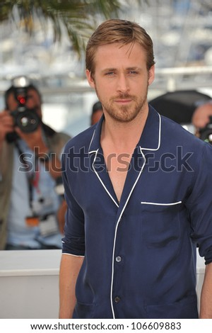 "CANNES, FRANCE - MAY 20, 2011: Ryan Gosling at the photocall for his new movie ""Drive"" in competition at the 64th Festival de Cannes. May 20, 2011  Cannes, France - stock photo"