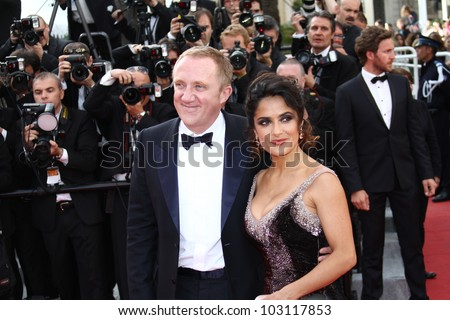 CANNES, FRANCE - MAY 18: Salma Hayek and Francois-Henri Pinault attend the 'Once Upon A Time' Premiere during 65th Cannes  Festival during at Palais des Festivals on May 18, 2012 in Cannes, France. - stock photo