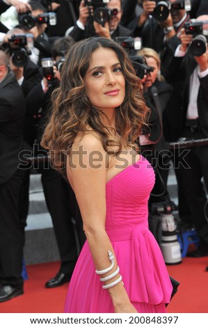 "CANNES, FRANCE - MAY 17, 2014: Salma Hayek at gala premiere of ""Saint-Laurent"" at the 67th Festival de Cannes.  - stock photo"