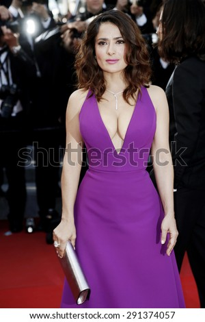 CANNES, FRANCE- MAY 17: Salma Hayek attends the 'Carol' Premiere during the 68th Cannes Film Festival on May 17, 2015 in Cannes, France. - stock photo