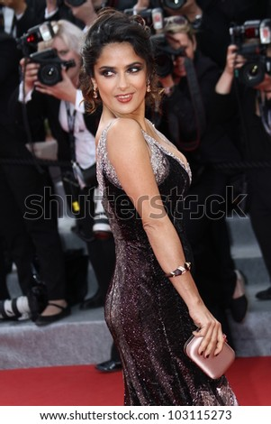 CANNES, FRANCE - MAY 18: Salma Hayek attends the 'Madagascar 3: Europe's Most Wanted' Premiere during 65th Annual Cannes Film Festival during at Palais des Festivals on May 18, 2012 in Cannes, France - stock photo