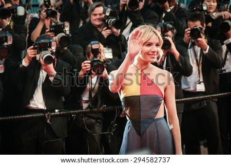 Cannes, France - May 16, 2015: Sienna Miller attends the Premiere of 'The Sea Of Trees' during the 68th annual Cannes Film Festival on May 16, 2015 in Cannes, France.  - stock photo