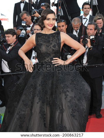 "CANNES, FRANCE - MAY 18, 2014: Sonam Kapoor at the gala premiere of ""The Homesman"" at the 67th Festival de Cannes.  - stock photo"