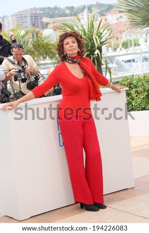 CANNES, FRANCE - MAY 21: Sophia Loren attends a photocall to present Cannes Classics at the 67th Annual Cannes Film Festival on May 21, 2014 in Cannes, France.  - stock photo