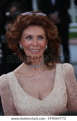 CANNES, FRANCE - MAY 20: Sophia Loren attends the 'Two Days, One Night' premiere at the 67th Annual Cannes Film Festival on May 20, 2014 in Cannes, France. - stock photo