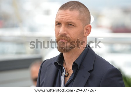 "CANNES, FRANCE - MAY 14, 2015: Tom Hardy at the photocall for his movie ""Mad Max: Fury Road"" at the 68th Festival de Cannes.