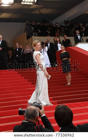 CANNES, FRANCE - MAY 14: Uma Thurman attends the 'Pirates of the Caribbean: On Stranger Tides' premiere during the 64th Cannes Film Festival at Palais des Festivals on May 14, 2011 in Cannes, France - stock photo