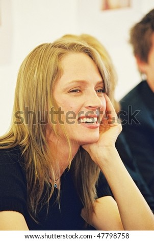 CANNES, FRANCE - MAY 11:  Uma Thurman poses during the photocall of the film 'Chelsea Walls' presented for the 33rd Directors' Fortnight during the 54th Cannes  Festival 11 May 2001 in Cannes, France - stock photo