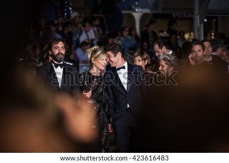 Cannes, France - 19 MAY 2016 - Valeria Golino, Stefano Mordini, Riccardo Scamarcio, Viola Prestieri and Marina Fois attend the 'It's Only The End Of The World (Juste La Fin Du Monde)' Premiere - stock photo