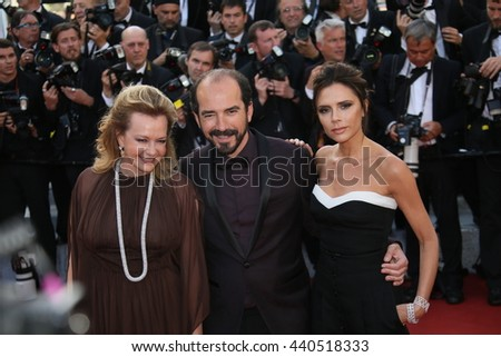 CANNES, FRANCE - MAY 11: Victoria Beckham, Caroline Scheufele and Alexis Veller attend the 'Cafe Society' premiere during the Cannes Film Festival at the Palais  on May 11, 2016 in Cannes, France. - stock photo