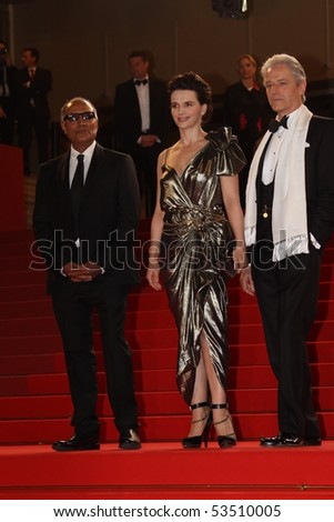 CANNES, FRANCE - MAY 18: William Shimell, Juliette Binoche and Abbas Kiarostami attend the 'Certified Copy' Premiere at the Palais  during the 63rd  Cannes  Festival on May 18, 2010 in Cannes, France - stock photo