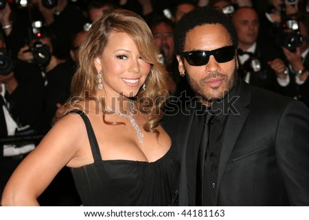 CANNES-MAY 15:Actress/singer Mariah Carey & actor/musician Lenny Kravitz attend the 'Precious' Premiere at the Grand Theatre Lumiere during the 62nd Annual Cannes Film Festival  May 15, 2009 in Cannes - stock photo