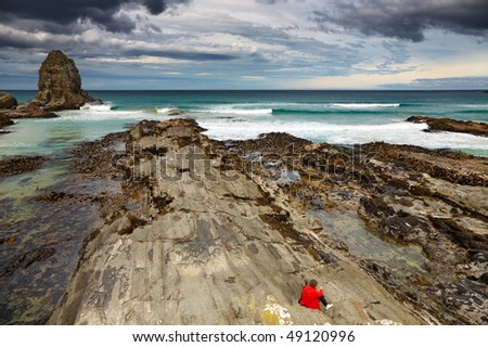 Cannibal Bay, Catlins Coast, New Zealand - stock photo