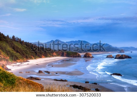 Cannon Beach overlook from Ecola State park at sunset, Oregon coast, Oregon State, USA. - stock photo
