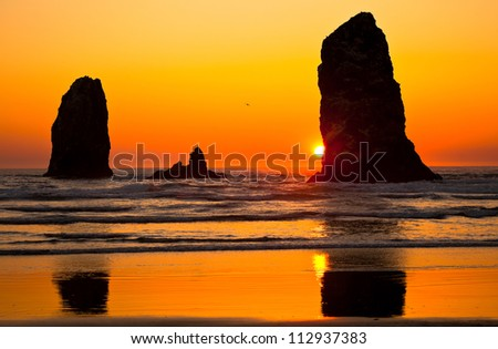 Cannon Beach Sunset, Oregon Coast Northwest USA - stock photo