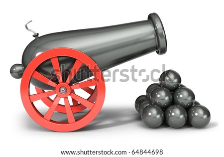 Cannon (3d illustration) - stock photo