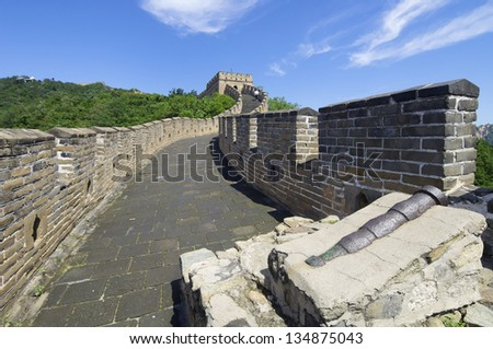 cannon in the Simatai Great Wall of China, Beijing, China - stock photo