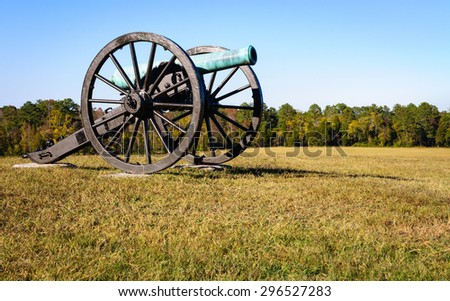 Cannon on Field at Chickamauga and Chattanooga National Military Park - stock photo