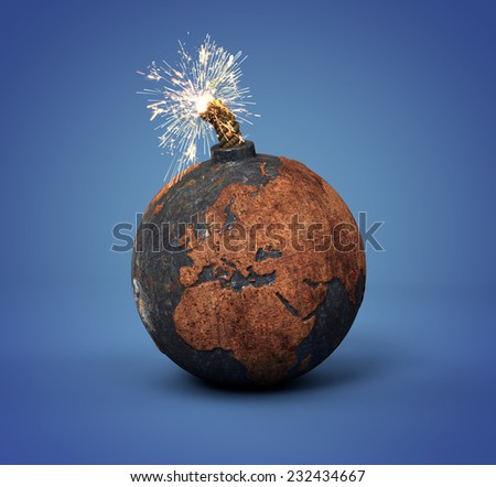 cannonball as the Earth ready to blow up - stock photo