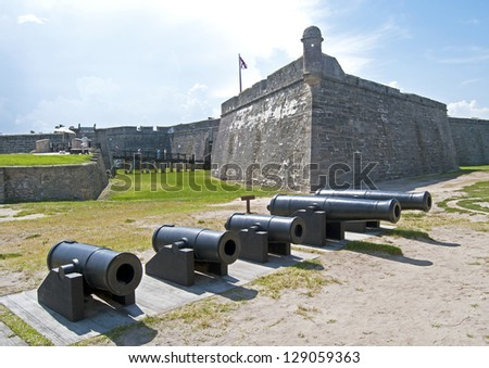 Cannons lined up, walls and field of the Castillo de San Marcos fort in St. Augustine, Florida. - stock photo