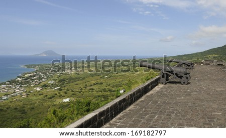 Cannons on the Roof of the Brimstone Hill Fortress in St. Kitts - stock photo