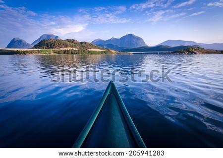 Canoe adventure in Norway - stock photo