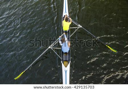 canoe competition on a scenic italian lake - stock photo