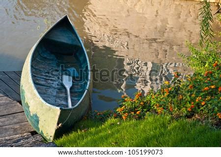 Canoe near the lake - stock photo