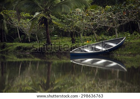 Canoe on the river, Cahuita, Costa Rica - stock photo