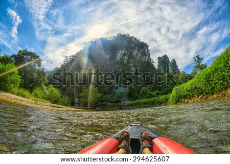 Canoe Safari on Kao Sok River in Thailand - stock photo