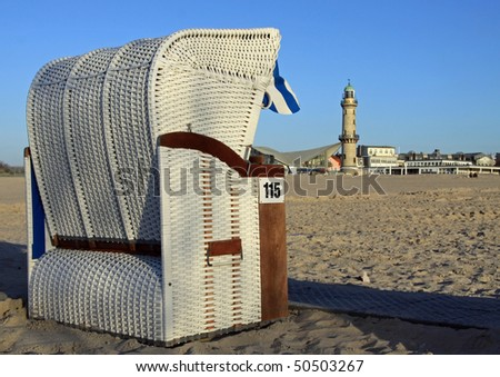 canopied beach chair at the beach in Warnemünde (Germany) - stock photo
