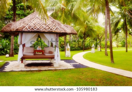 Canopies for massage on a beach in Bali - stock photo