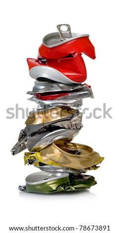 Cans for recycling on a white background. - stock photo