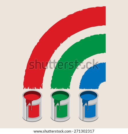 Cans of paint and rainbow. Icon. Illustration. - stock photo