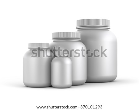 Cans of protein or gainer powder  - stock photo