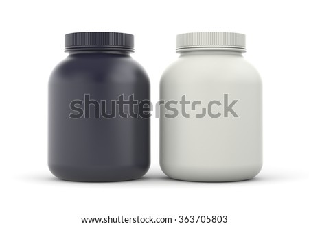 Cans of protein or gainer powder - bodybuilding supplements - stock photo