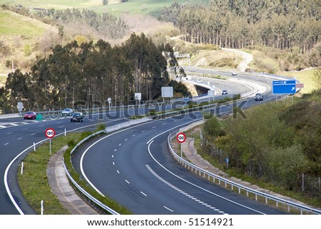 Cantabrian motorway, Spain - stock photo