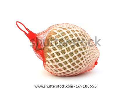 Cantaloupe in net bag, Isolated on white background. - stock photo