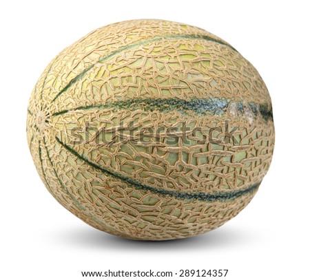 Cantaloupe Melon Fruit isolated on white background. - stock photo