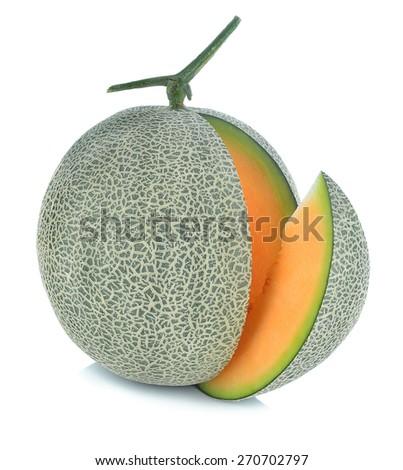 cantaloupe melon isolate on a white background. - stock photo