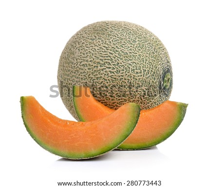 cantaloupe melon isolated on white background - stock photo