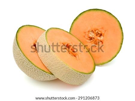 cantaloupe melon sliced on white background  - stock photo